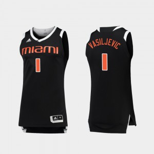 Chase Dejan Vasiljevic Miami Jersey Mens #1 College Basketball Black White