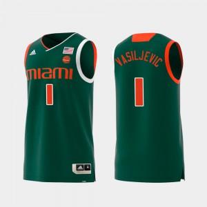 Swingman College Basketball Mens Dejan Vasiljevic Miami Jersey #1 Replica Green
