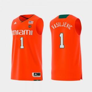 Dejan Vasiljevic Miami Jersey Swingman College Basketball Orange Mens #1 Replica