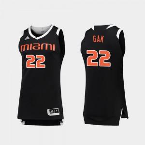 #22 Chase For Men's Deng Gak Miami Jersey College Basketball Black White