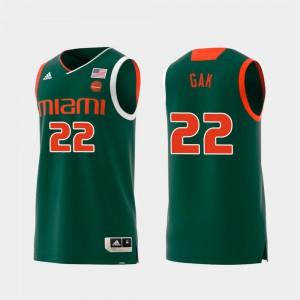 Mens Replica Deng Gak Miami Jersey #22 Green Swingman College Basketball