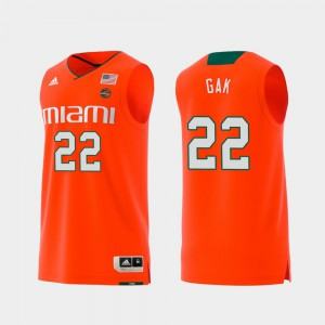 Swingman College Basketball #22 Orange For Men's Replica Deng Gak Miami Jersey