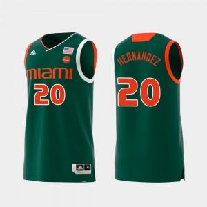 Dewan Hernandez Miami Jersey Green Mens Swingman College Basketball Replica #20
