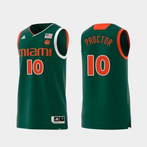 #10 Green For Men Swingman College Basketball Replica Dominic Proctor Miami Jersey