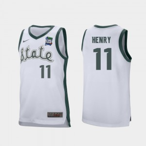 White Aaron Henry MSU Jersey #11 2019 Final-Four Retro Performance For Men's