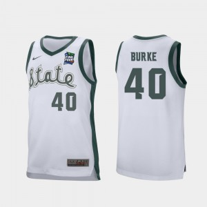 Mens Retro Performance Braden Burke MSU Jersey #40 White 2019 Final-Four
