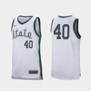 White Braden Burke MSU Jersey College Basketball Mens Retro Performance #40