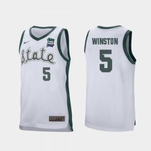 Retro Performance #5 White 2019 Final-Four Cassius Winston MSU Jersey Men