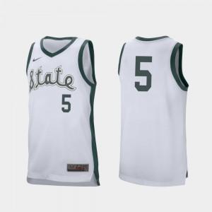 College Basketball #5 Cassius Winston MSU Jersey Mens Retro Performance White