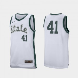 Retro Performance Conner George MSU Jersey White #41 College Basketball For Men