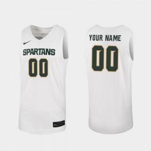 2019-20 College Basketball White Mens MSU Customized Jerseys #00 Replica