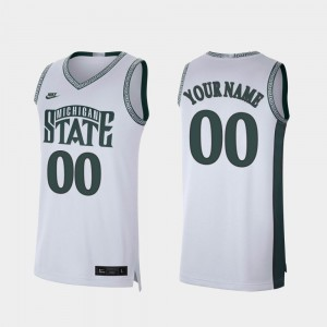 #00 MSU Customized Jerseys College Basketball Retro Limited White For Men's