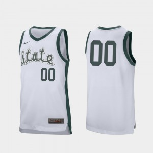 #00 MSU Customized Jersey College Basketball For Men's White Retro Performance