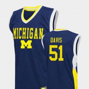 For Men's Austin Davis Michigan Jersey College Basketball Blue #51 Fadeaway