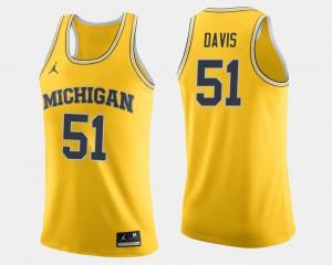 Maize Men's Austin Davis Michigan Jersey #51 College Basketball