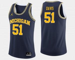 College Basketball Navy #51 Men Austin Davis Michigan Jersey