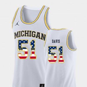 College Basketball Mens #51 Austin Davis Michigan Jersey White USA Flag