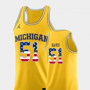#51 Austin Davis Michigan Jersey For Men College Basketball Yellow USA Flag