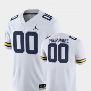 Michigan Custom Jerseys For Men 2018 Game #00 White College Football