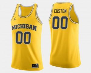Maize #00 Men's College Basketball Michigan Custom Jerseys
