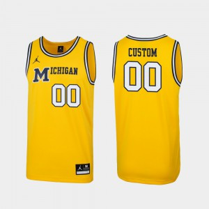 Michigan Custom Jerseys Replica #00 1989 Throwback College Basketball Maize Men's
