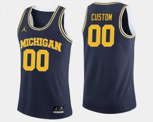 College Basketball #00 Navy Michigan Custom Jerseys Men's