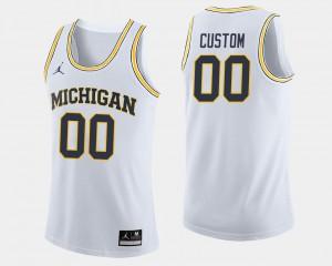 Michigan Custom Jersey College Basketball Men's White #00