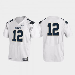 White #12 Navy Jersey Replica College Football Men