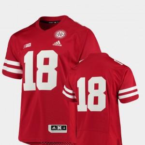 Scarlet #18 Premier Nebraska Jersey College Football Men's