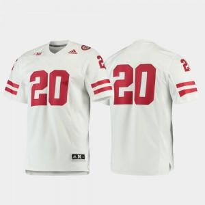 For Men Football #20 White Premier Nebraska Jersey