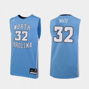 #32 Replica Men's Luke Maye UNC Jersey Carolina Blue College Basketball