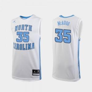#35 Mens White Replica College Basketball Ryan McAdoo UNC Jersey