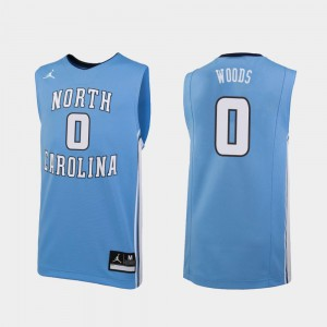 #0 Seventh Woods UNC Jersey Replica For Men's College Basketball Carolina Blue