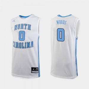 White Seventh Woods UNC Jersey College Basketball Men Replica #0