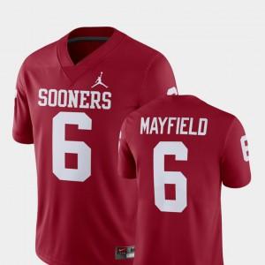 For Men's Alumni Football Game #6 Player Baker Mayfield OU Jersey Crimson