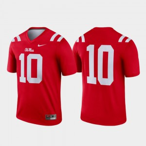 College Football Red Mens #10 Legend Ole Miss Jersey