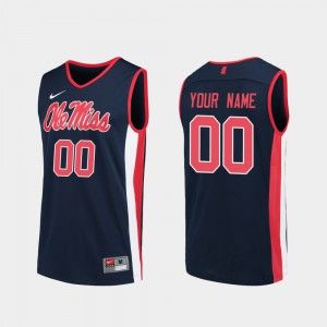 Replica College Basketball Navy Ole Miss Custom Jerseys Mens #00