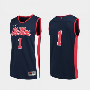 Replica Navy Men's College Basketball #1 Ole Miss Jersey