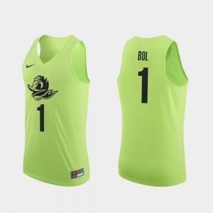 #1 Authentic Men Apple Green Bol Bol Oregon Jersey College Basketball