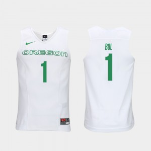 Bol Bol Oregon Jersey White Elite Authentic Performance College Basketball Men's #1 Authentic Performace