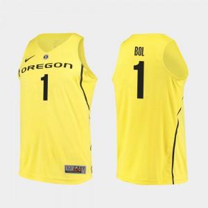 Bol Bol Oregon Jersey Yellow Authentic College Basketball Men #1