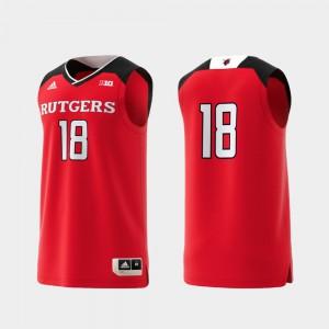 Mens College Replica #18 Basketball Swingman Scarlet Rutgers Jersey