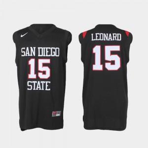 Black College Basketball #15 Kawhi Leonard San Diego State Jersey Authentic Men
