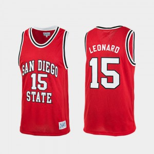 Red Authentic Kawhi Leonard San Diego State Jersey #15 College Basketball Mens