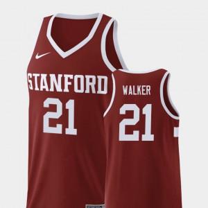 College Basketball Men Wine Cameron Walker Stanford Jersey #21 Replica