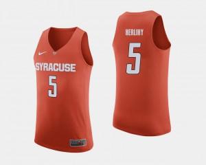 Men #5 Patrick Herlihy Syracuse Jersey College Basketball Orange