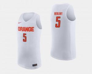 Patrick Herlihy Syracuse Jersey College Basketball #5 Men White
