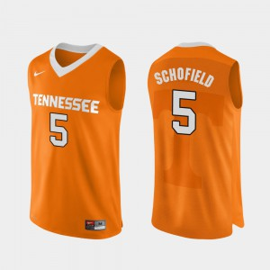 College Basketball Orange Authentic Performace #5 Mens Admiral Schofield UT Jersey