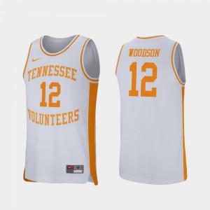 #12 White For Men's College Basketball Retro Performance Brad Woodson UT Jersey