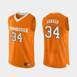 Men Brock Jancek UT Jersey Orange #34 College Basketball Authentic Performace